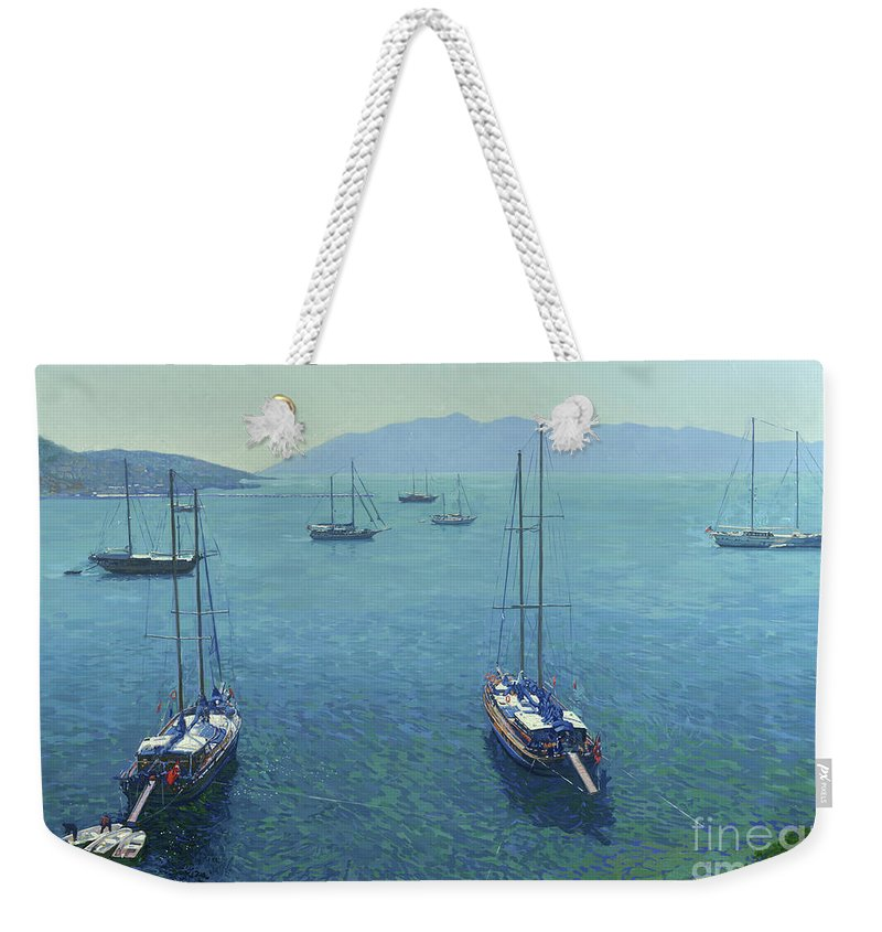Yachts Weekender Tote Bag featuring the painting The Yachts by Simon Kozhin