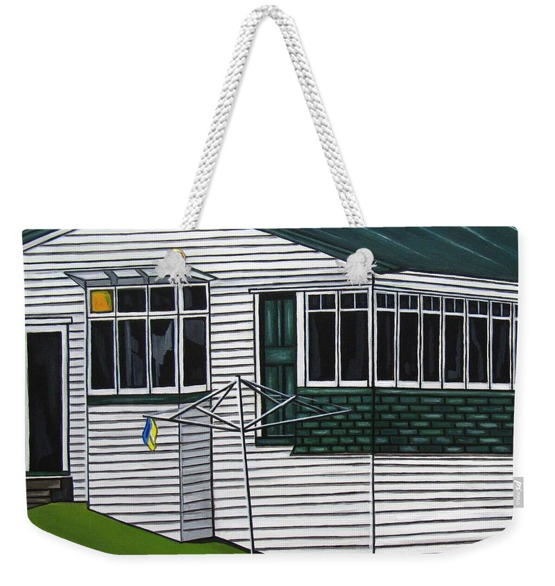 Cottage Paintings Weekender Tote Bag featuring the painting The Yates Place by Sandra Marie Adams