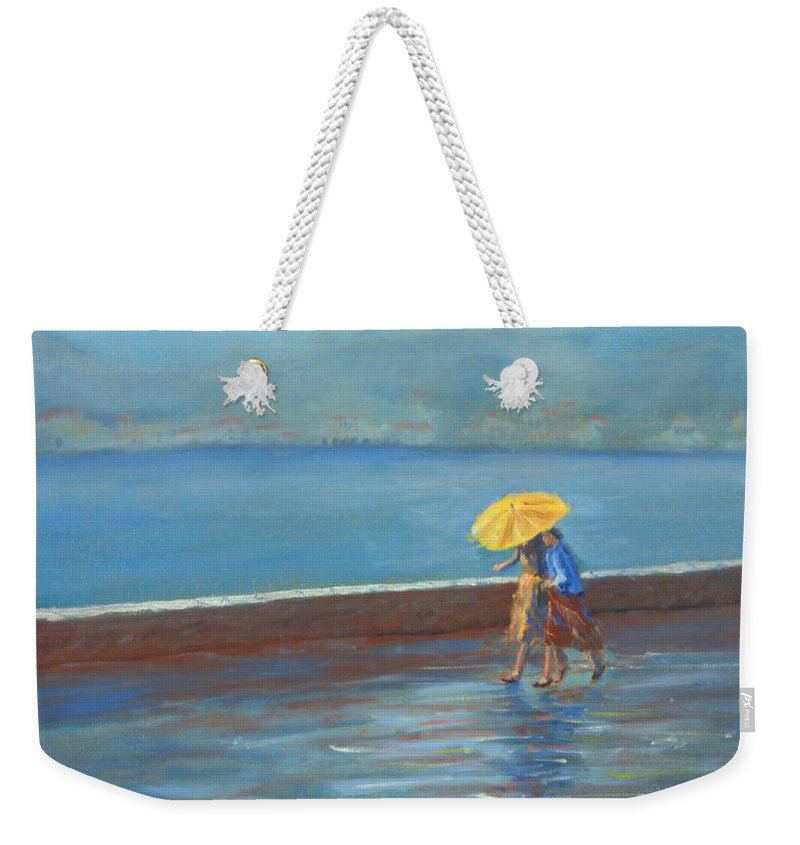 Rain Weekender Tote Bag featuring the painting The Yellow Umbrella by Jerry McElroy