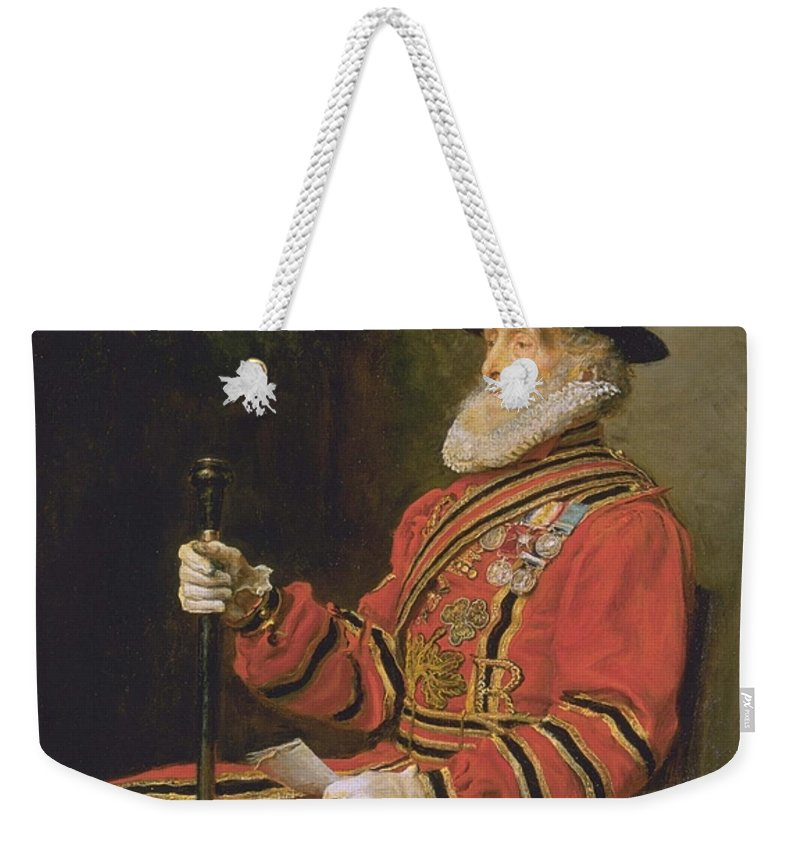 Sir John Everett Millais Weekender Tote Bag featuring the painting The Yeoman Of The Guard by Sir John Everett Millais