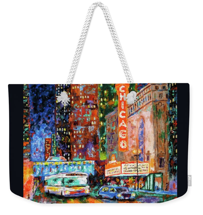 Chicago Theater Weekender Tote Bag featuring the painting Theater Night by J Loren Reedy