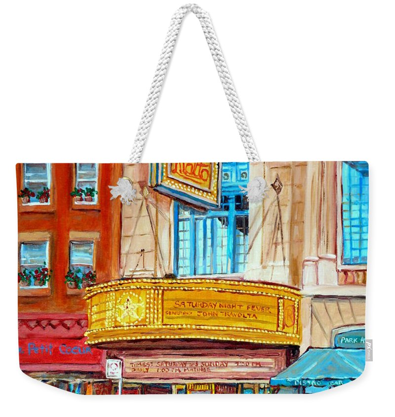 Montreal Weekender Tote Bag featuring the painting Theatre Rialto Ave. Du Parc Montreal by Carole Spandau