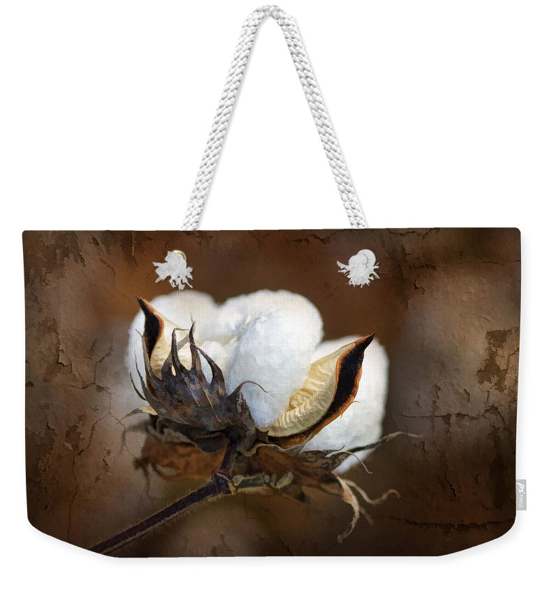 Cotton Weekender Tote Bag featuring the photograph Them Cotton Bolls by Kathy Clark