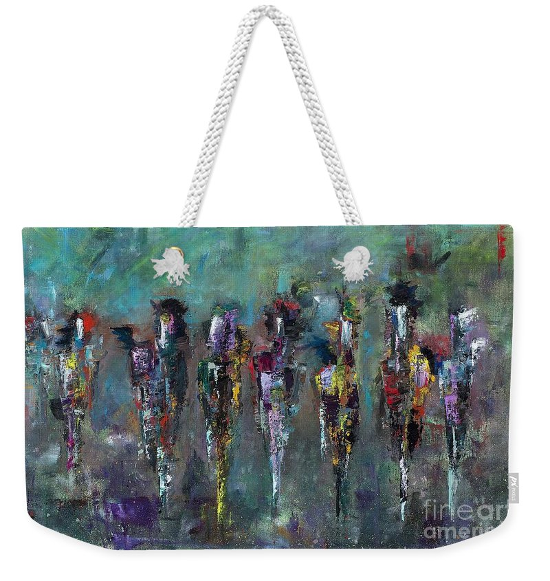 Abstract Art Weekender Tote Bag featuring the painting Then Came Seven Horses by Frances Marino