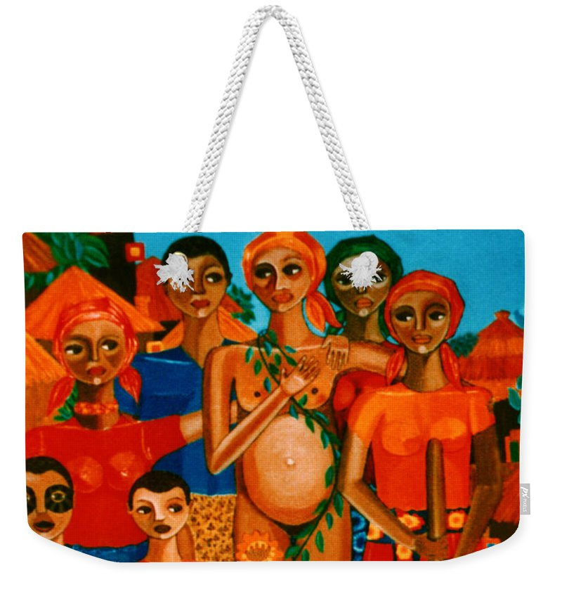 Pregnant Women Weekender Tote Bag featuring the painting There Are Always Sunflowers For Those Waiting A New Life by Madalena Lobao-Tello
