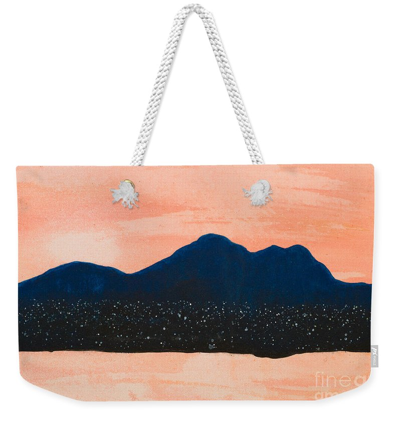 Mountains Weekender Tote Bag featuring the painting There Are No Mountains In Michigan by Stefanie Forck