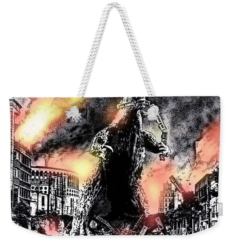 Godzilla Weekender Tote Bag featuring the photograph There Goes Tokyo by George Pedro