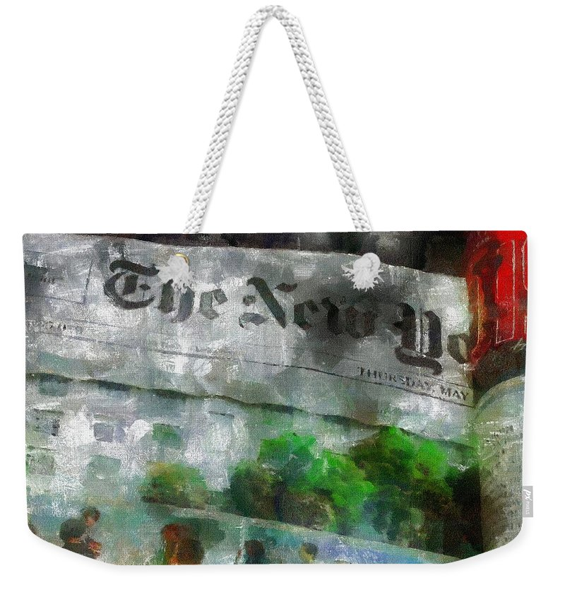 Editorial Weekender Tote Bag featuring the painting There Is No News Fit To Print by RC DeWinter