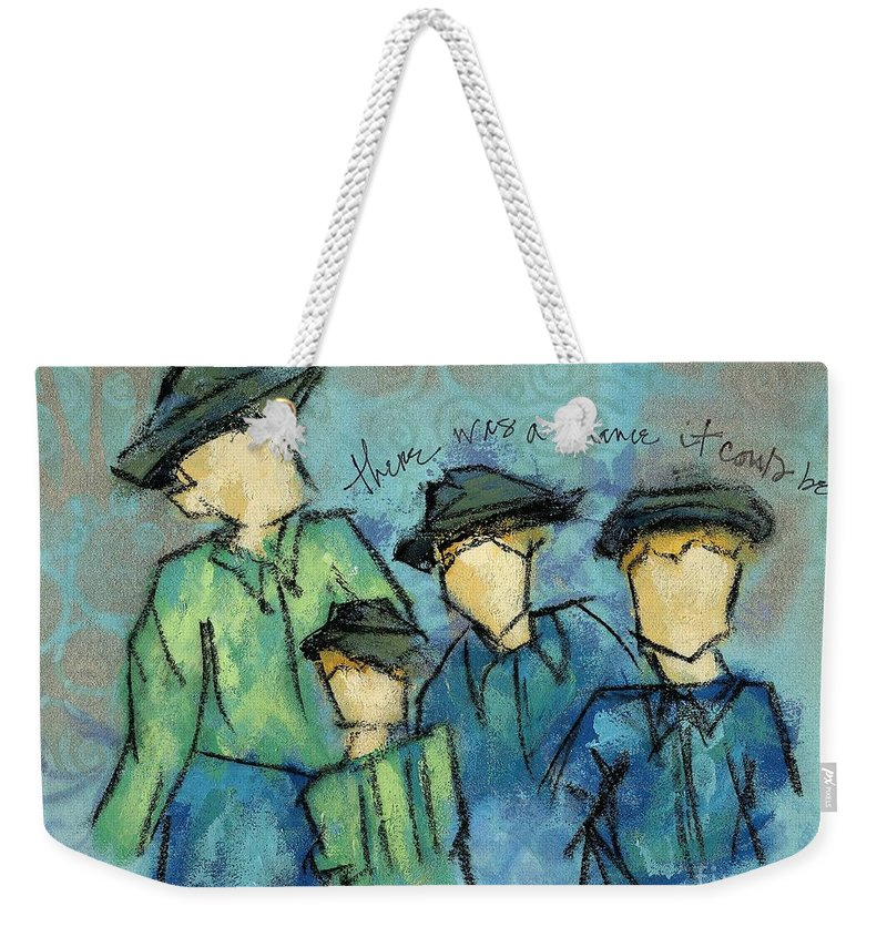 Figures Weekender Tote Bag featuring the painting There Was A Chance It Could Be by Hew Wilson