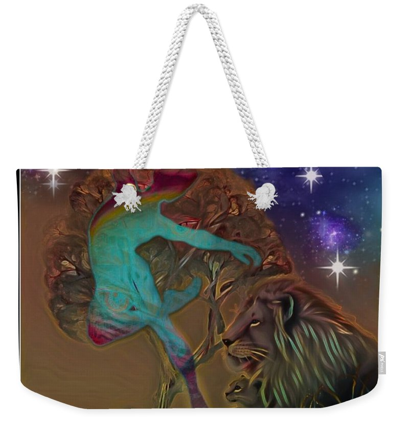Surrealmixed Media Music Art Weekender Tote Bag featuring the photograph These Lion Eyes by Patricia DOYLE Olson