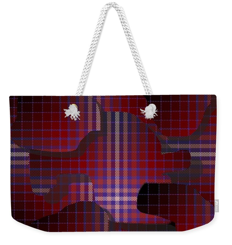 Digital Weekender Tote Bag featuring the digital art These Pieces Dont Fit by Ron Bissett