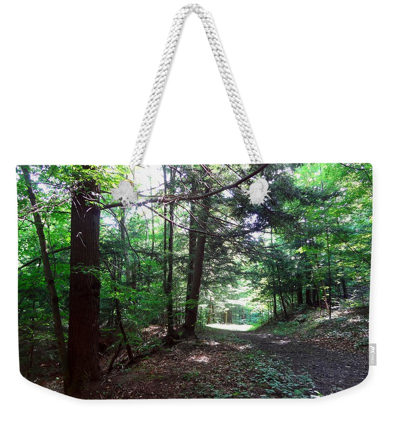 Landscape Weekender Tote Bag featuring the photograph These Woods by Lorraine Baum