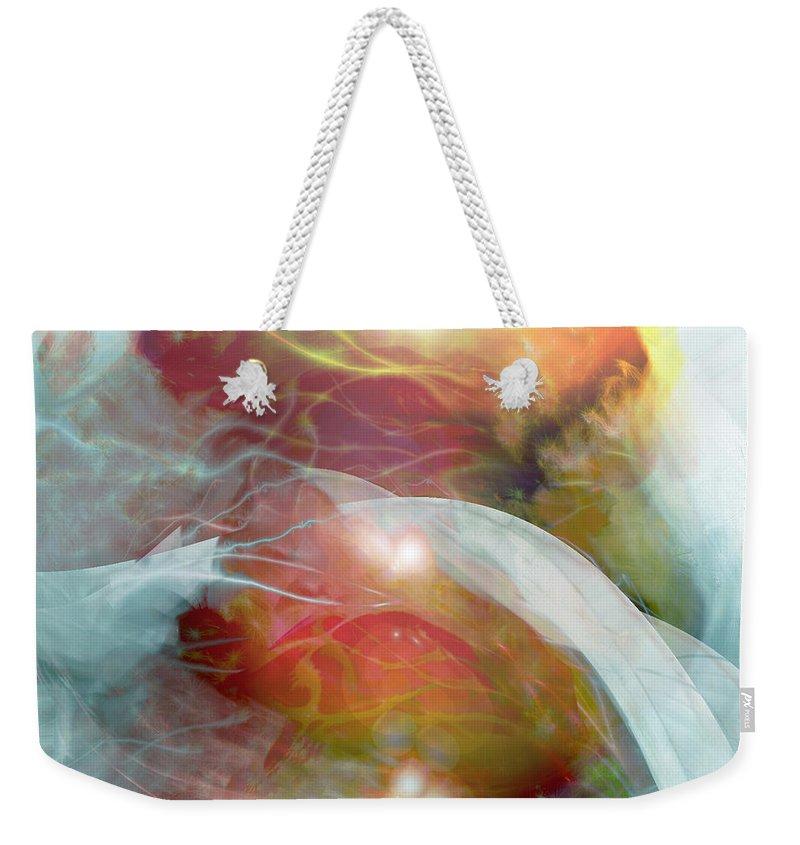 Theta Brain Waves Weekender Tote Bag featuring the digital art Theta Brain Waves by Linda Sannuti