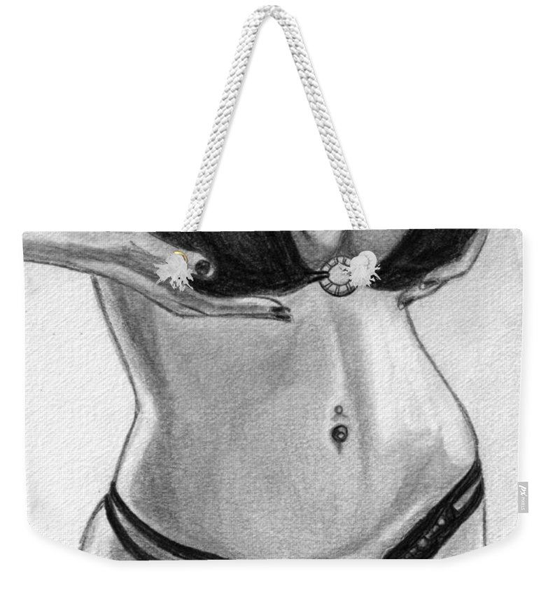 Girl Weekender Tote Bag featuring the drawing They Are Heavy But Worth It by Alban Dizdari