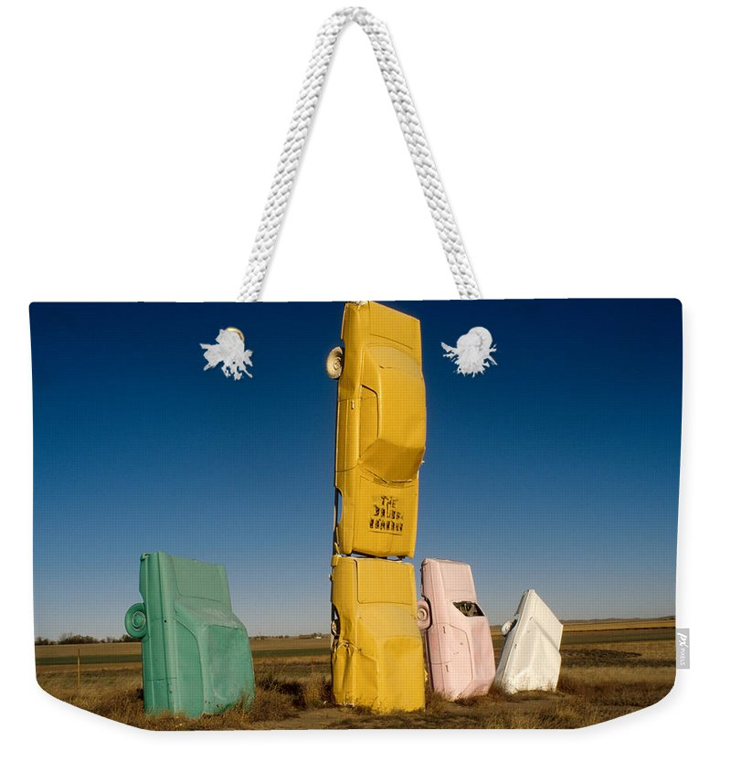 Car Henge Weekender Tote Bag featuring the photograph They Have Landed by Jerry McElroy