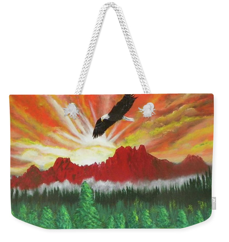Acrylic Weekender Tote Bag featuring the painting They That Wait Upon The Lord  Isa 40 31 by Laurie Kidd
