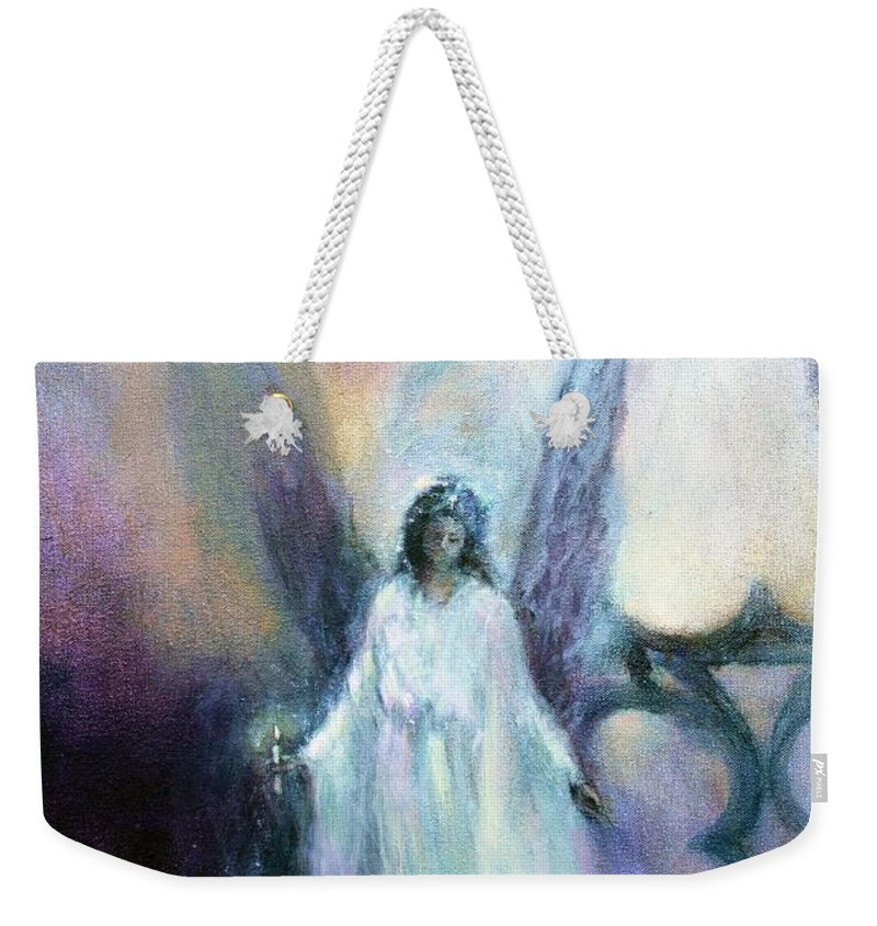 Christmas Angels Weekender Tote Bag featuring the painting They Wait, Seasons Greetings by Annie Tagg