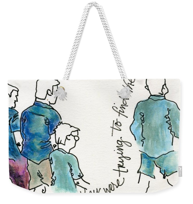 Figurative Weekender Tote Bag featuring the painting They Were Trying To Find The Sidewalk by Hew Wilson