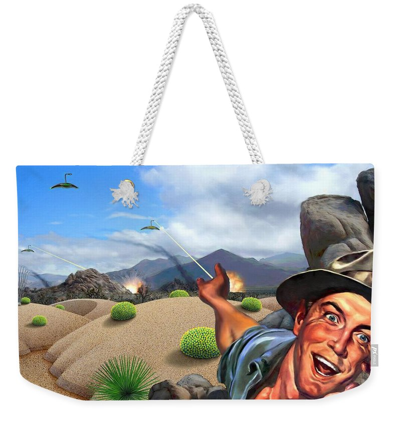 Landscape Weekender Tote Bag featuring the digital art They're Here by Snake Jagger