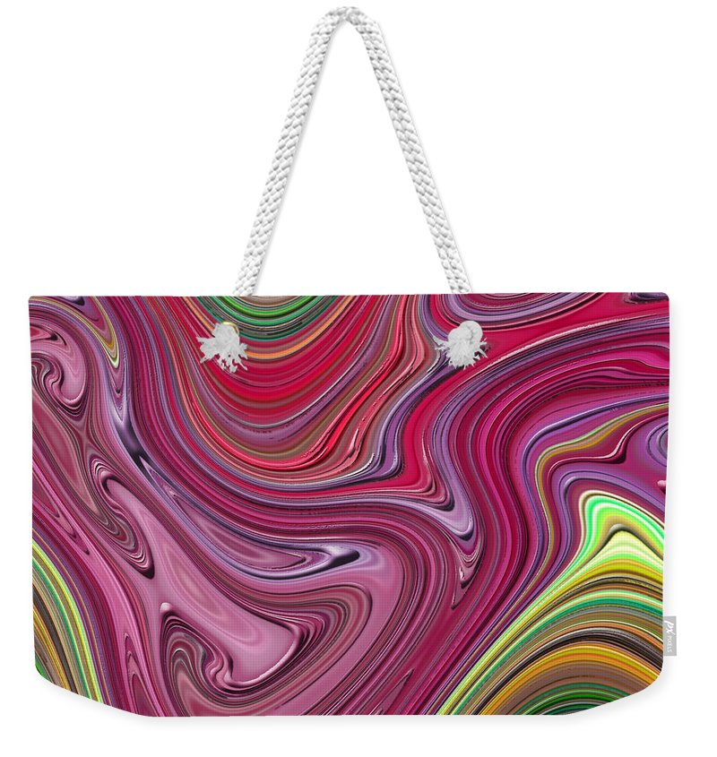 Colorful Weekender Tote Bag featuring the digital art Thick Paint Abstract by Melissa A Benson