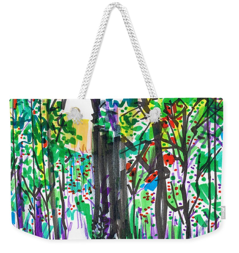Forest Weekender Tote Bag featuring the drawing Thicket by Seth Weaver