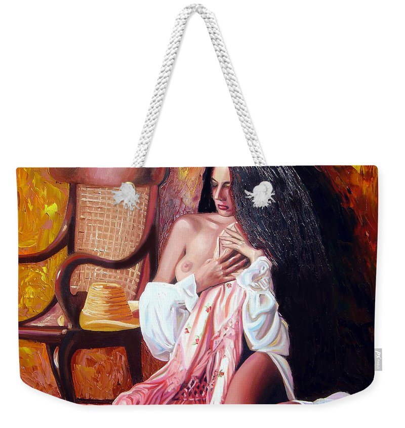 Cuba Weekender Tote Bag featuring the painting Thinking by Jose Manuel Abraham
