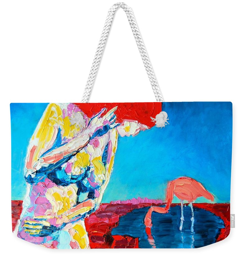 Nude Weekender Tote Bag featuring the painting Thinking Woman by Ana Maria Edulescu