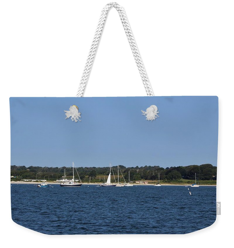 Weekender Tote Bag featuring the photograph Third Beach Middletown With Boats by Arthur DuBois