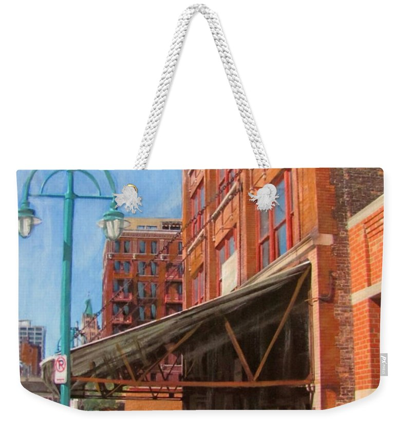 Milwaukee Weekender Tote Bag featuring the mixed media Third Ward - Broadway Awning by Anita Burgermeister