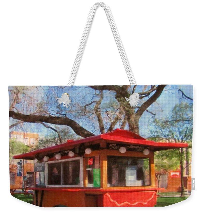 Milwaukee Weekender Tote Bag featuring the mixed media Third Ward - Popcorn Wagon by Anita Burgermeister