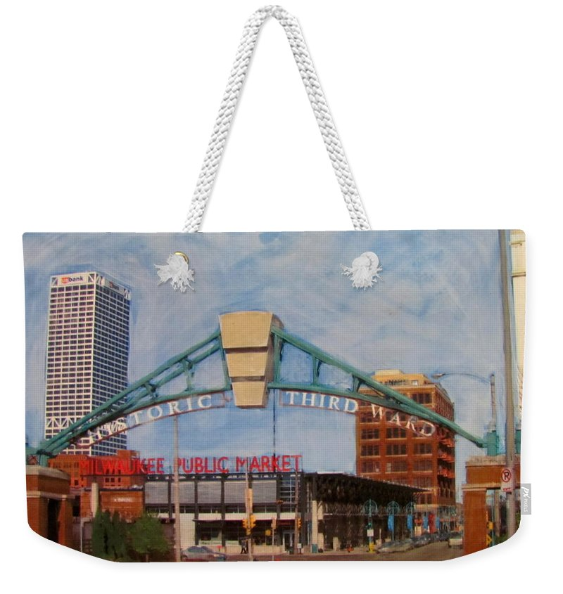 Milwaukee Weekender Tote Bag featuring the mixed media Third Ward Arch Over Public Market by Anita Burgermeister