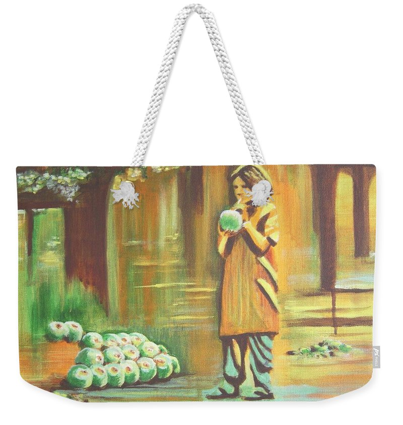 Thirst Weekender Tote Bag featuring the painting Thirst Quenched by Usha Shantharam