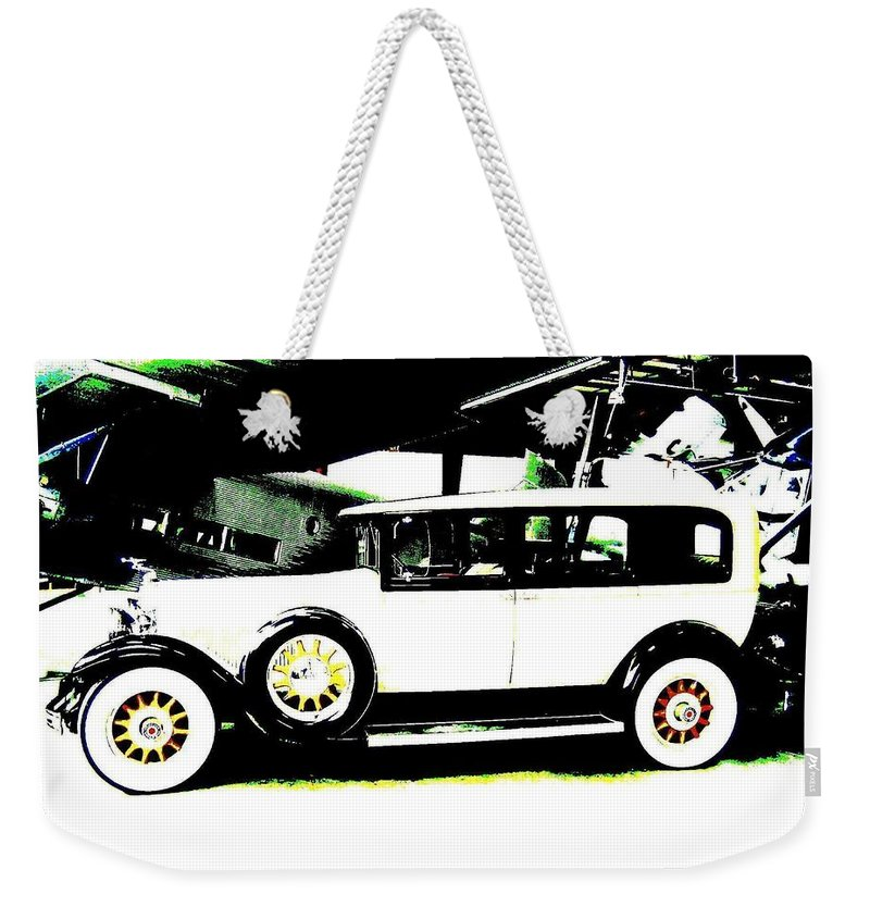 Packard Weekender Tote Bag featuring the digital art Thirties Packard Limo by Will Borden