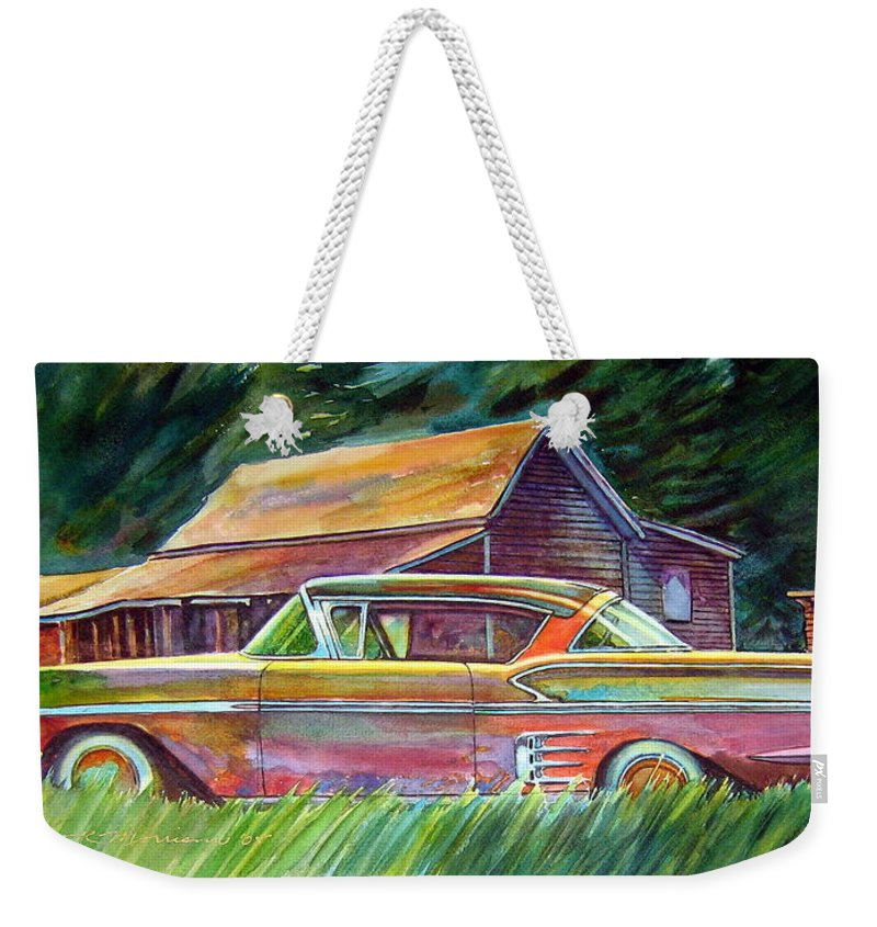 Rusty Car Chev Impala Weekender Tote Bag featuring the painting This Impala Doesn by Ron Morrison