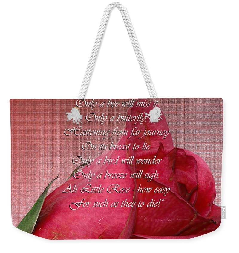 Nina Silver Weekender Tote Bag featuring the photograph This Little Rose On Digital Linen by Nina Silver