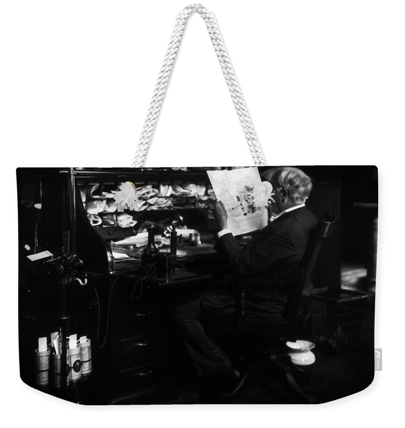 Thomas Edison Weekender Tote Bag featuring the photograph Thomas Edison Reading by Sad Hill - Bizarre Los Angeles Archive