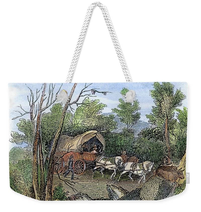 1636 Weekender Tote Bag featuring the drawing Thomas Hookers Migration by Granger