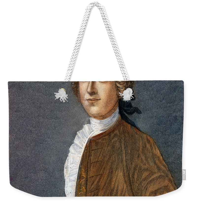 18th Century Weekender Tote Bag featuring the drawing Thomas Hutchinson by Granger