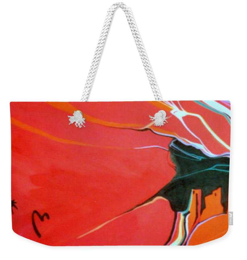 Anasazi Weekender Tote Bag featuring the painting Those Who Came Before Us by Marlene Burns