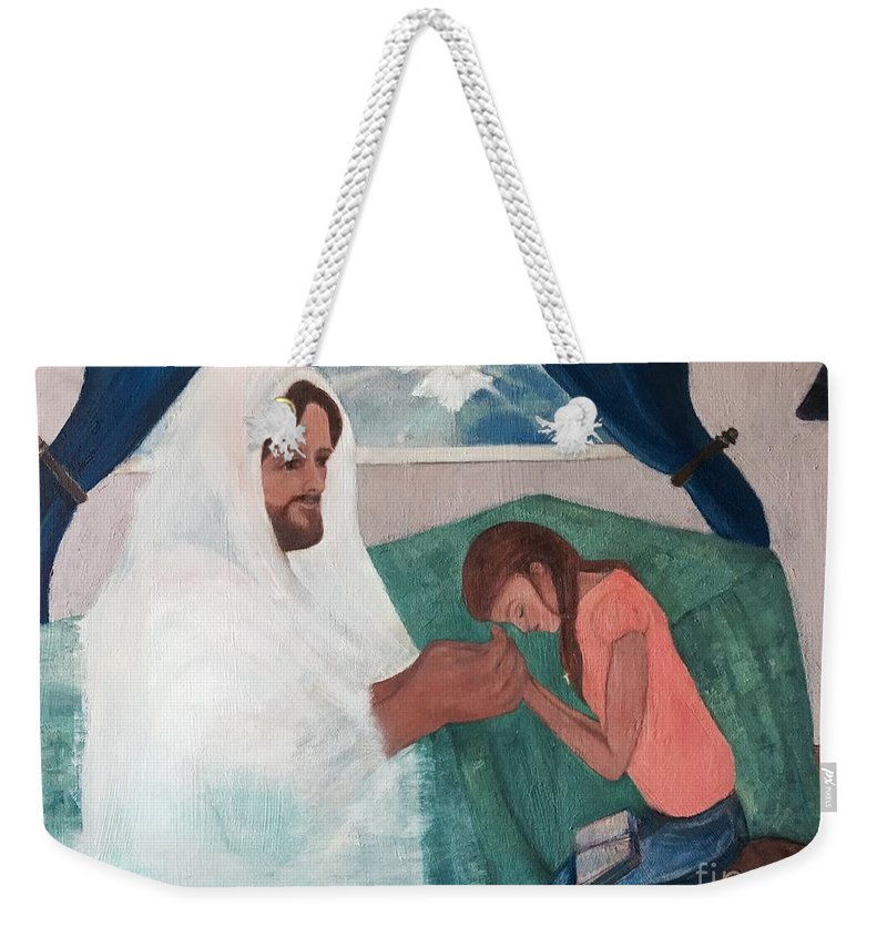 Jesus Weekender Tote Bag featuring the painting Those Who Hope In The Lord Will Renew Their Strength by Anna Mize Bell