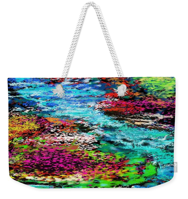 Abstract Weekender Tote Bag featuring the digital art Thought Upon A Stream by David Lane