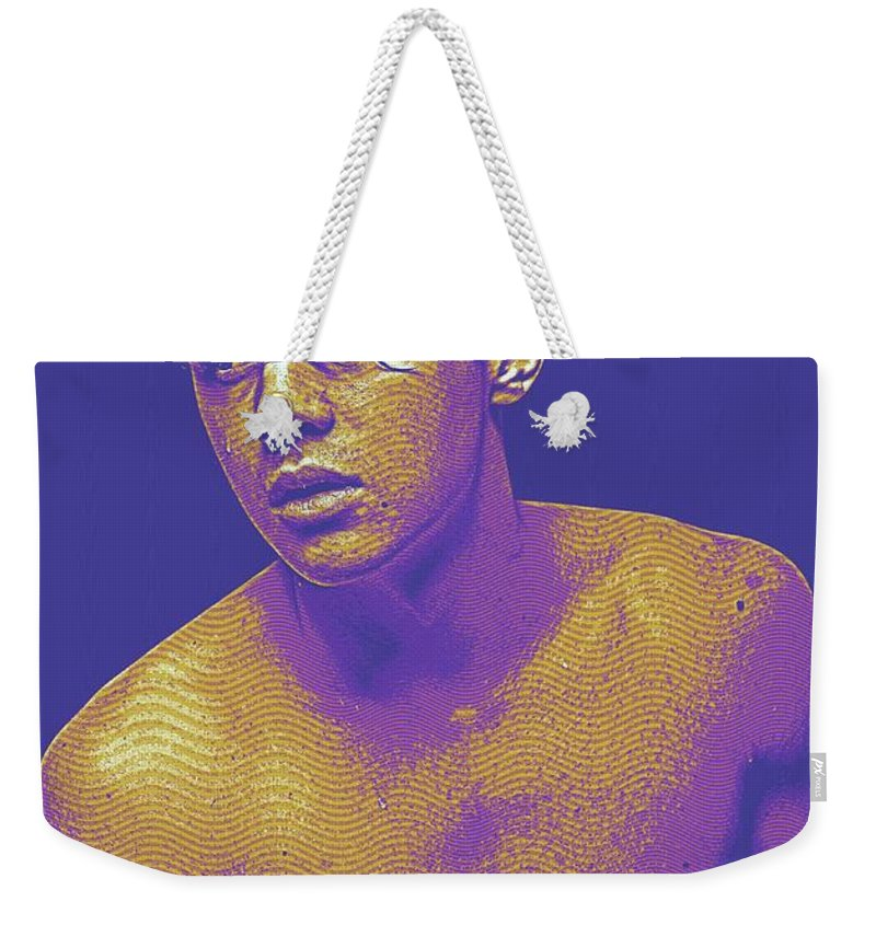 Man Weekender Tote Bag featuring the painting Thoughtful Youth Series 15 by Celestial Images