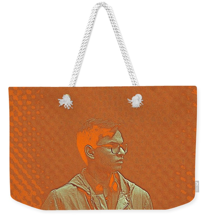 Man Weekender Tote Bag featuring the painting Thoughtful Youth Series 19 by Celestial Images