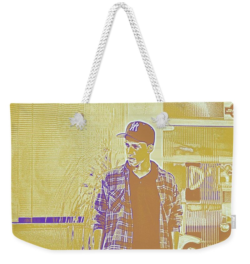 Man Weekender Tote Bag featuring the painting Thoughtful Youth Series 30 by Celestial Images