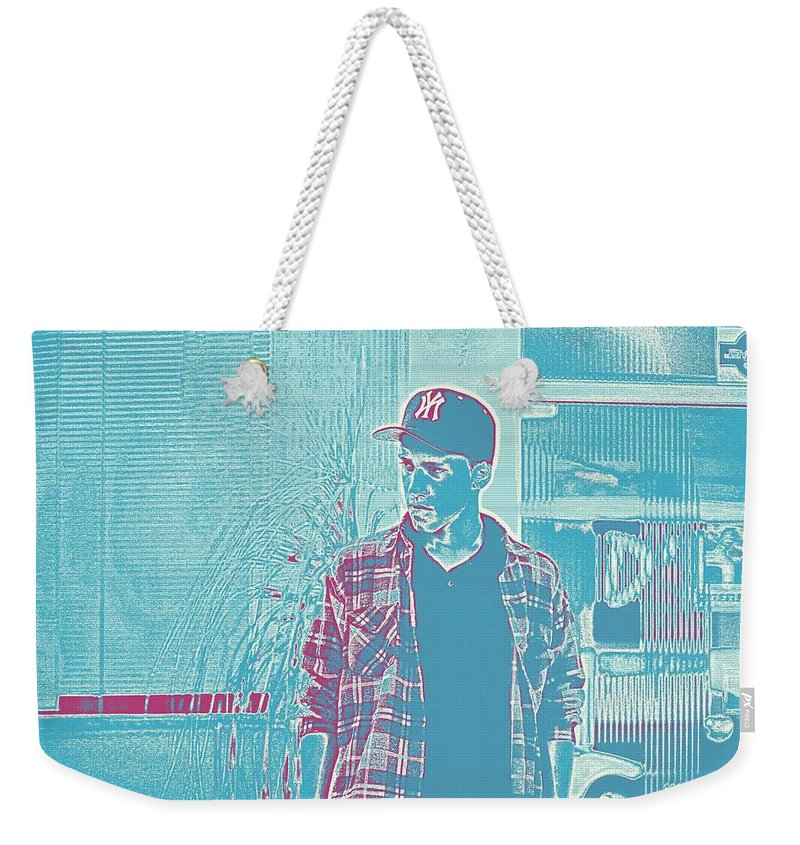 Man Weekender Tote Bag featuring the painting Thoughtful Youth Series 31 by Celestial Images