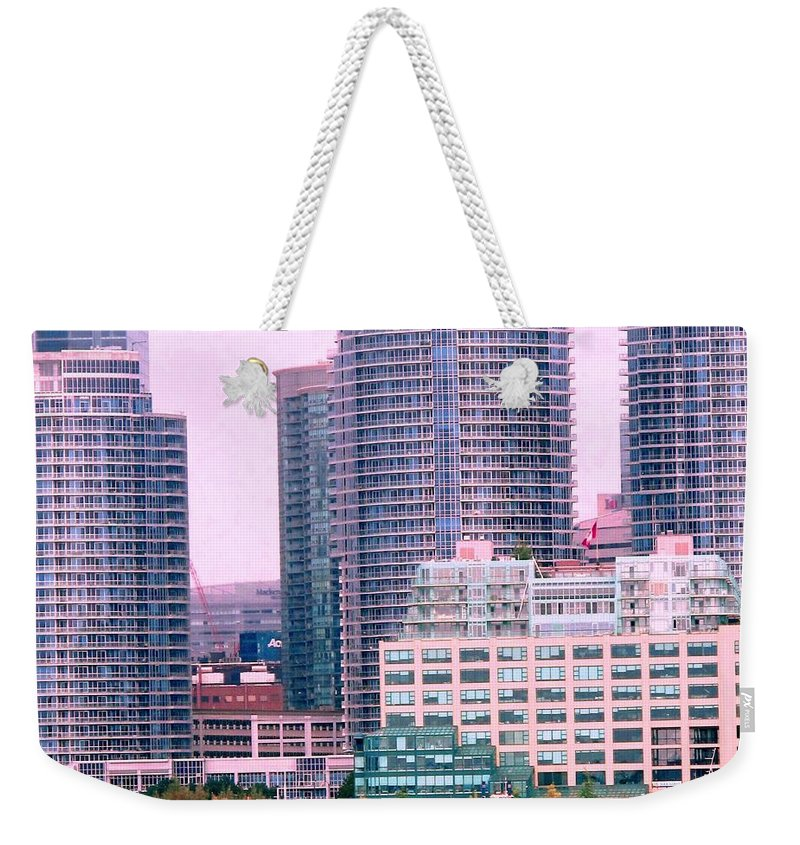 Toronto Weekender Tote Bag featuring the photograph Thousands Of Windows On The Harbor by Ian MacDonald