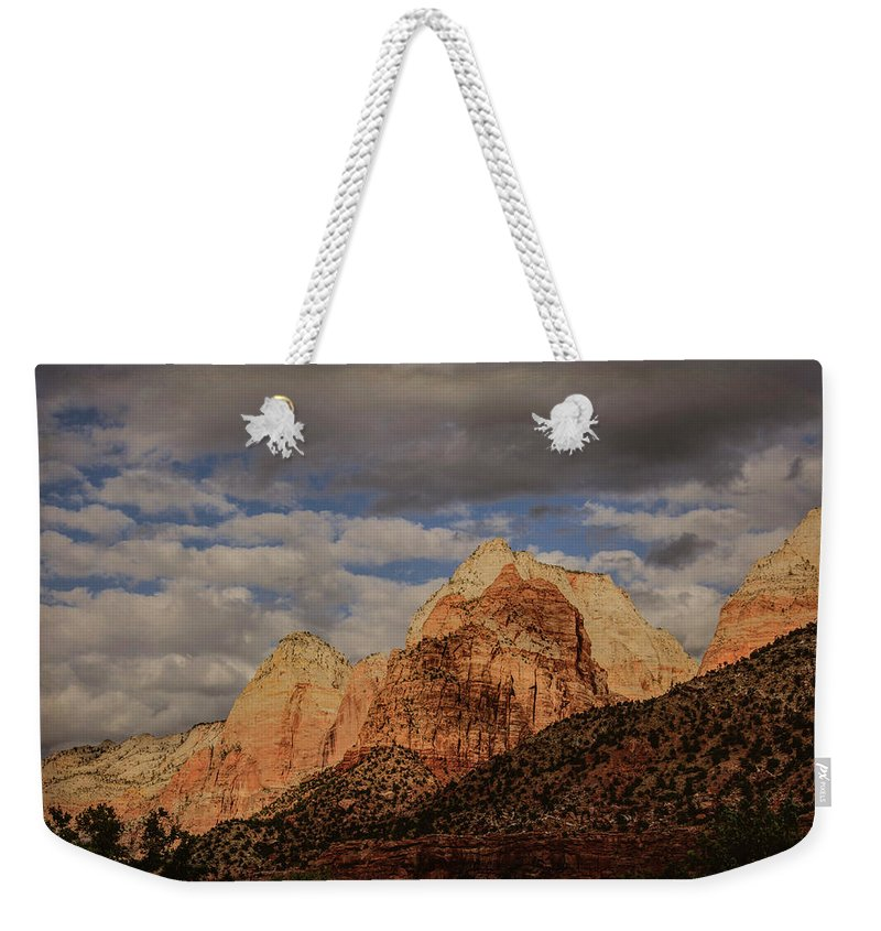 Zion Weekender Tote Bag featuring the photograph Threatened by Jim Cook