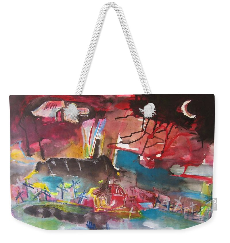 Original Weekender Tote Bag featuring the painting Three Arms10 Original Abstract Colorful Landscape Painting For Sale Red Blue Green by Seon-Jeong Kim