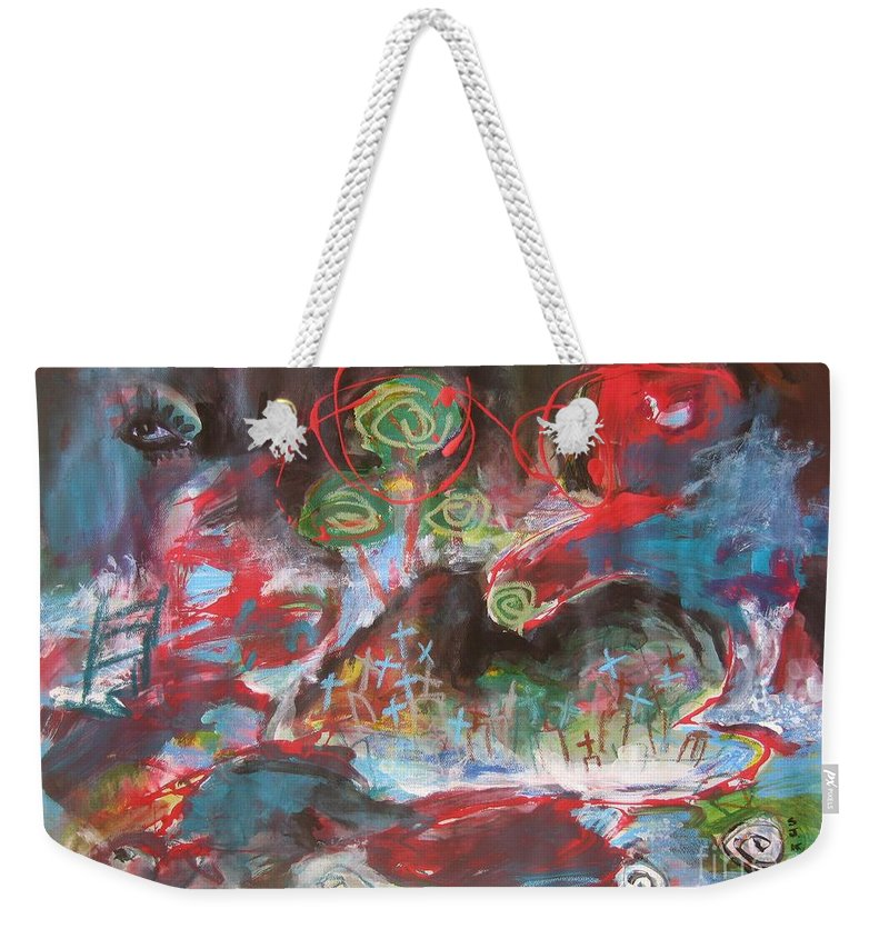 Seascape Weekender Tote Bag featuring the painting Three Arms12 by Seon-Jeong Kim