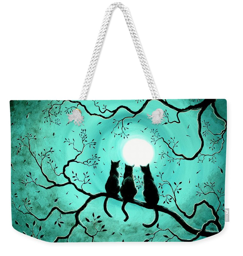 Black Weekender Tote Bag featuring the painting Three Black Cats Under A Full Moon by Laura Iverson